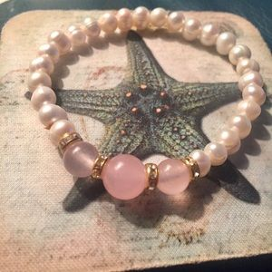 Jewelry - Natural Pearl and Pink Jade Bracelet